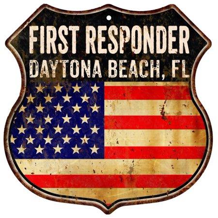 DAYTONA BEACH, FL First Responder American Flag 12x12 Metal Shield Sign S122836 ()