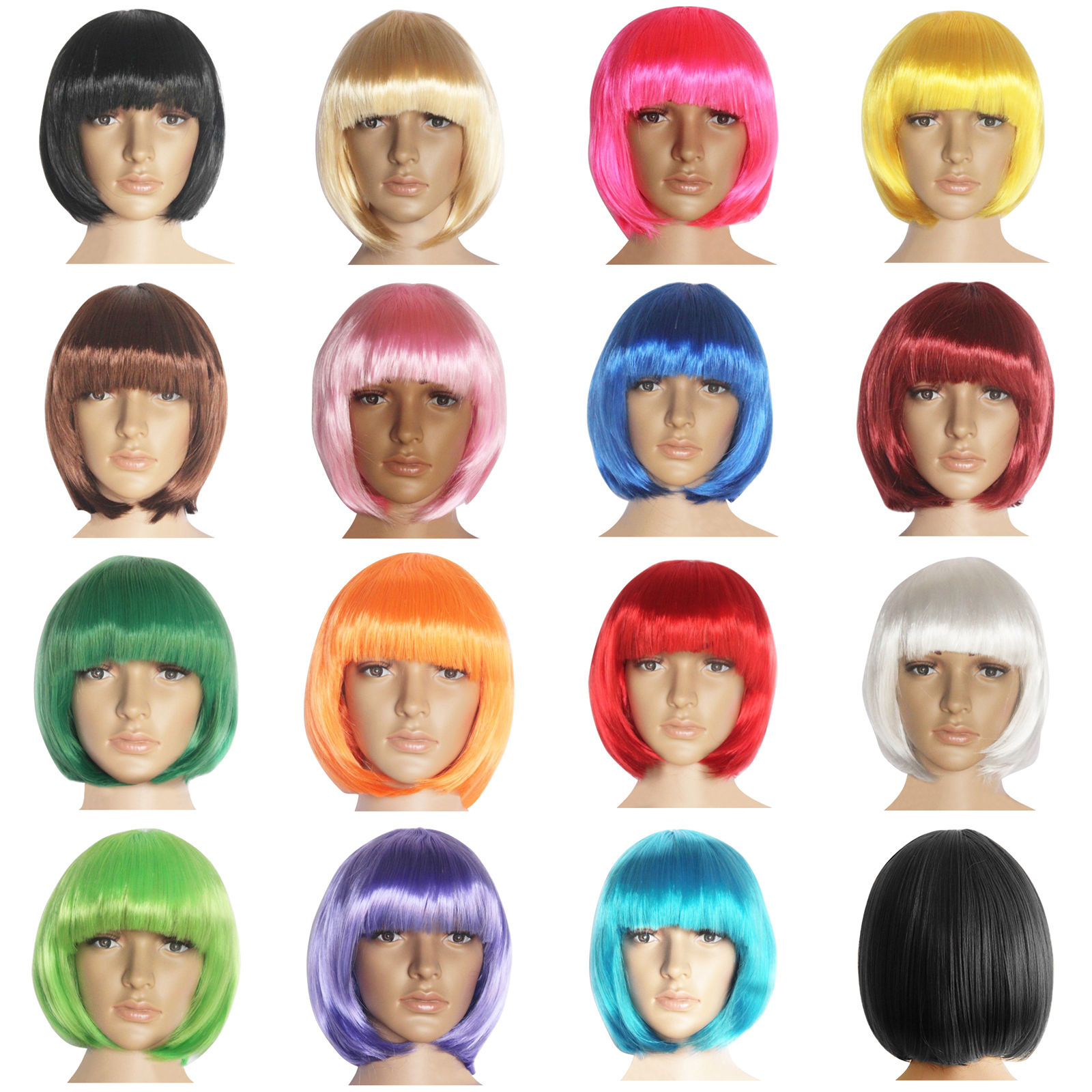 DYMADE Fashion New Women Lady Short Straight Hair Full Wigs Cosplay Party Bob Hair Wig 15color