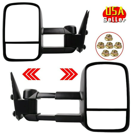 Trailer Towing Mirrors Side Mirror Manual Pair for 99-06 Chevy Silverado Sierra 1500 2500 3500 & 2007 Classic Chevy Silverado Towing Mirrors