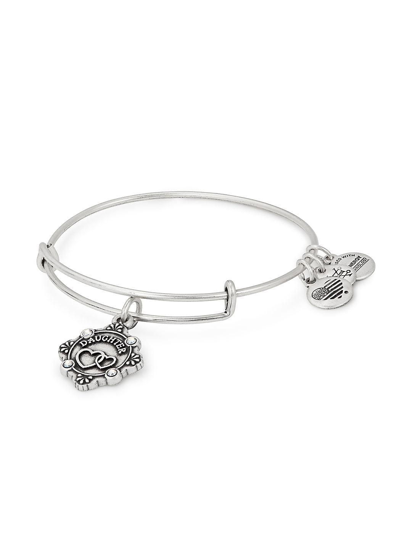 Daughter Crystal-Embellished Charm Bangle Bracelet