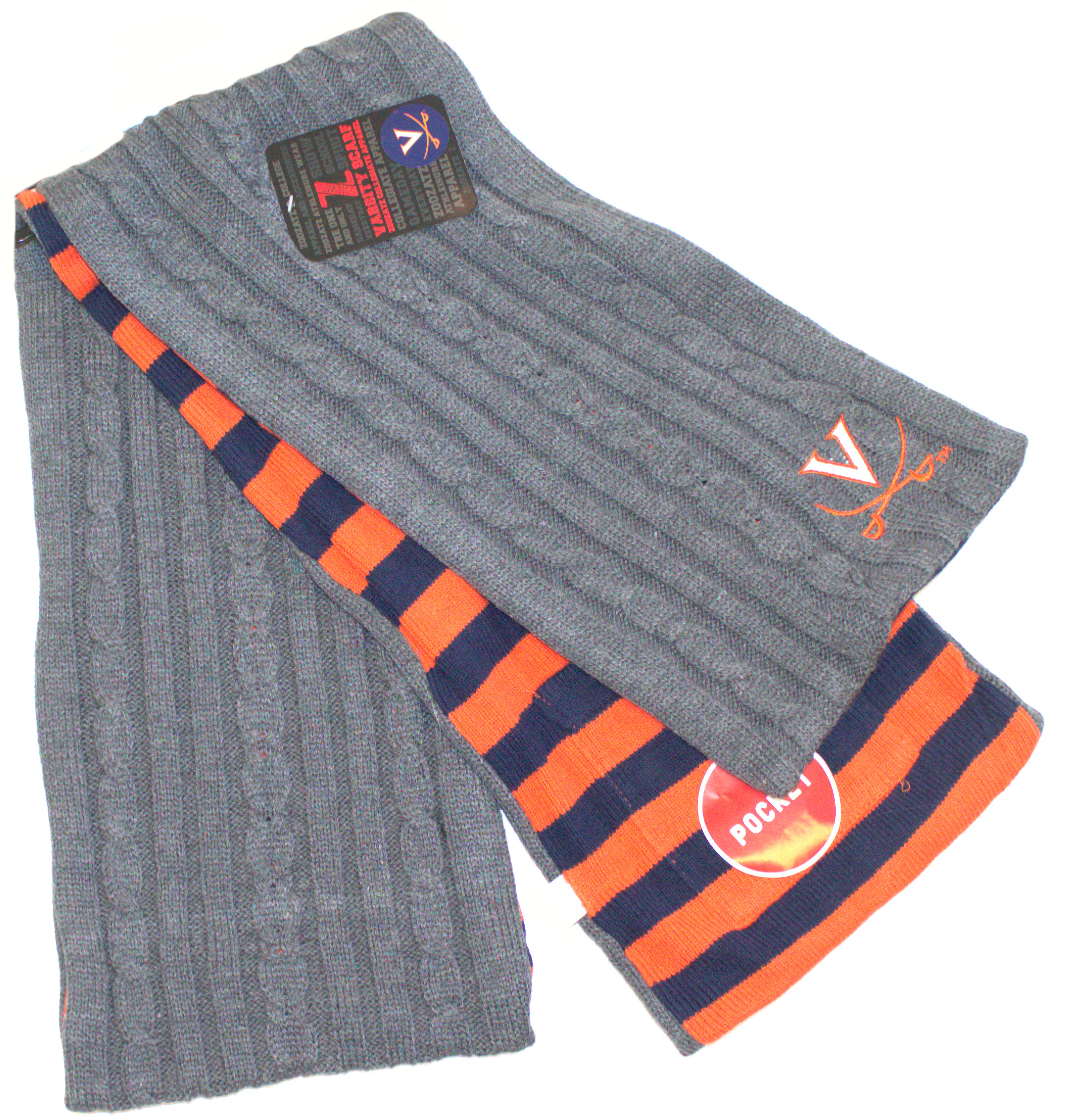 Virginia Cavaliers Charcoal Varsity Pocket Scarf