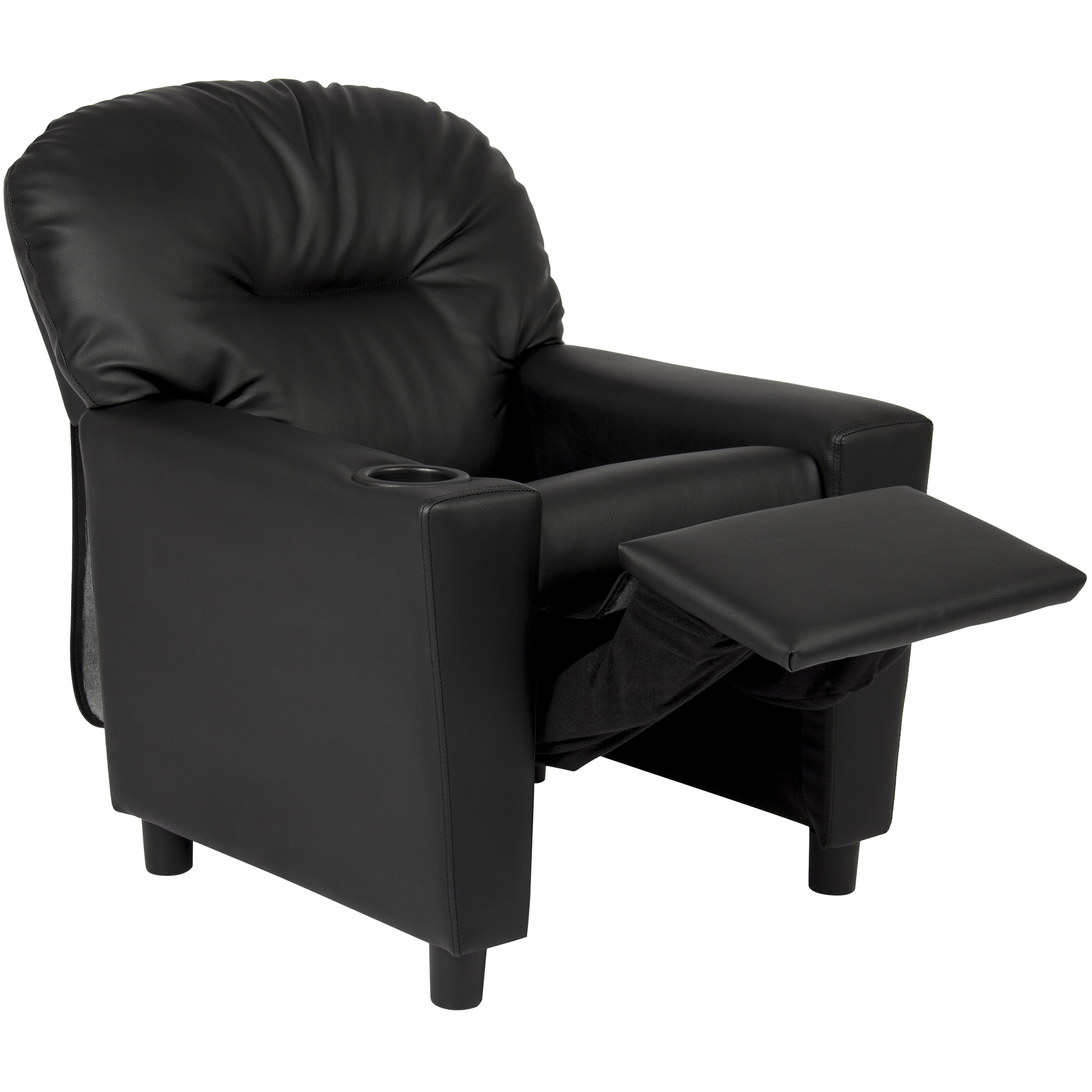 Best Choice Products Black Leather Kids Recliner Chair With Cup Holder