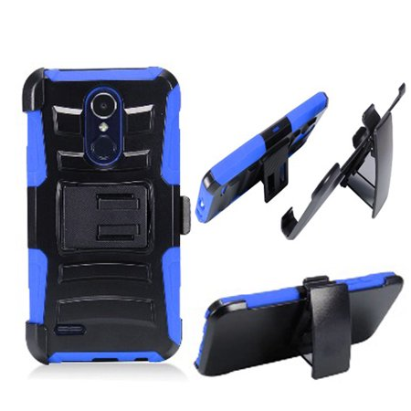 Boost Mobile Phone Accessories (Phone Case for Verizon LG Zone 4 / LG Aristo-2 X210 / LG Tribute Dynasty ( Boost Mobile) SP-200 Combo Holster Belt Clip with Rugged Cover Kickstand (Holster-Blue Edge)