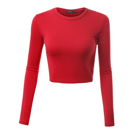 2e50f23d9d65 Doublju - Doublju Women s Basic Crewneck Long Sleeve Slim Fit Crop Top RED  M - Walmart.com