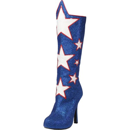 a424a76d1f8a Womens Knee High Boots Star Shoes Wonder Woman Silver Blue Or Red 4