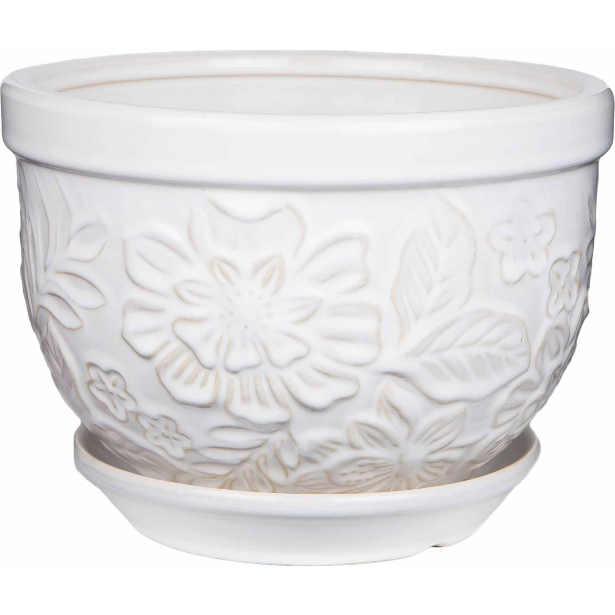 Image of Pennington Ceramic Vintage Floral Pot/Planter, 12 inch