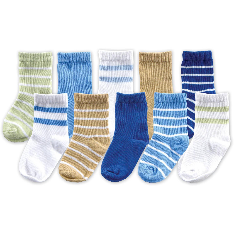 Luvable Friends Newborn Baby Boy Socks 10-Piece Giftset, Blue