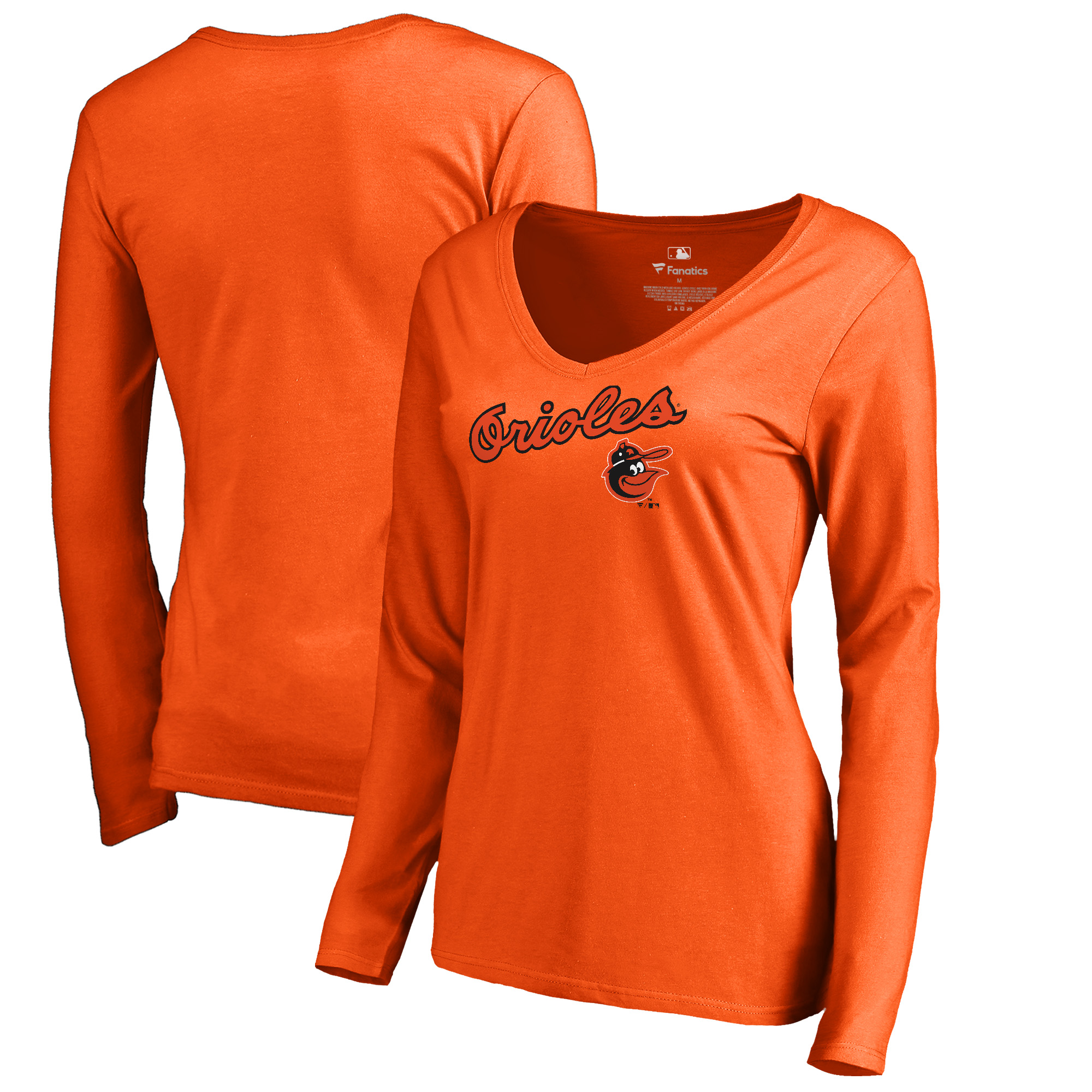 Baltimore Orioles Fanatics Branded Women's Cooperstown Collection Wahconah Long Sleeve V-Neck T-Shirt - Orange