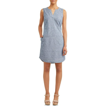 c29d4adf Time and Tru - Women's Woven Notch Neck Shift Dress - Walmart.com