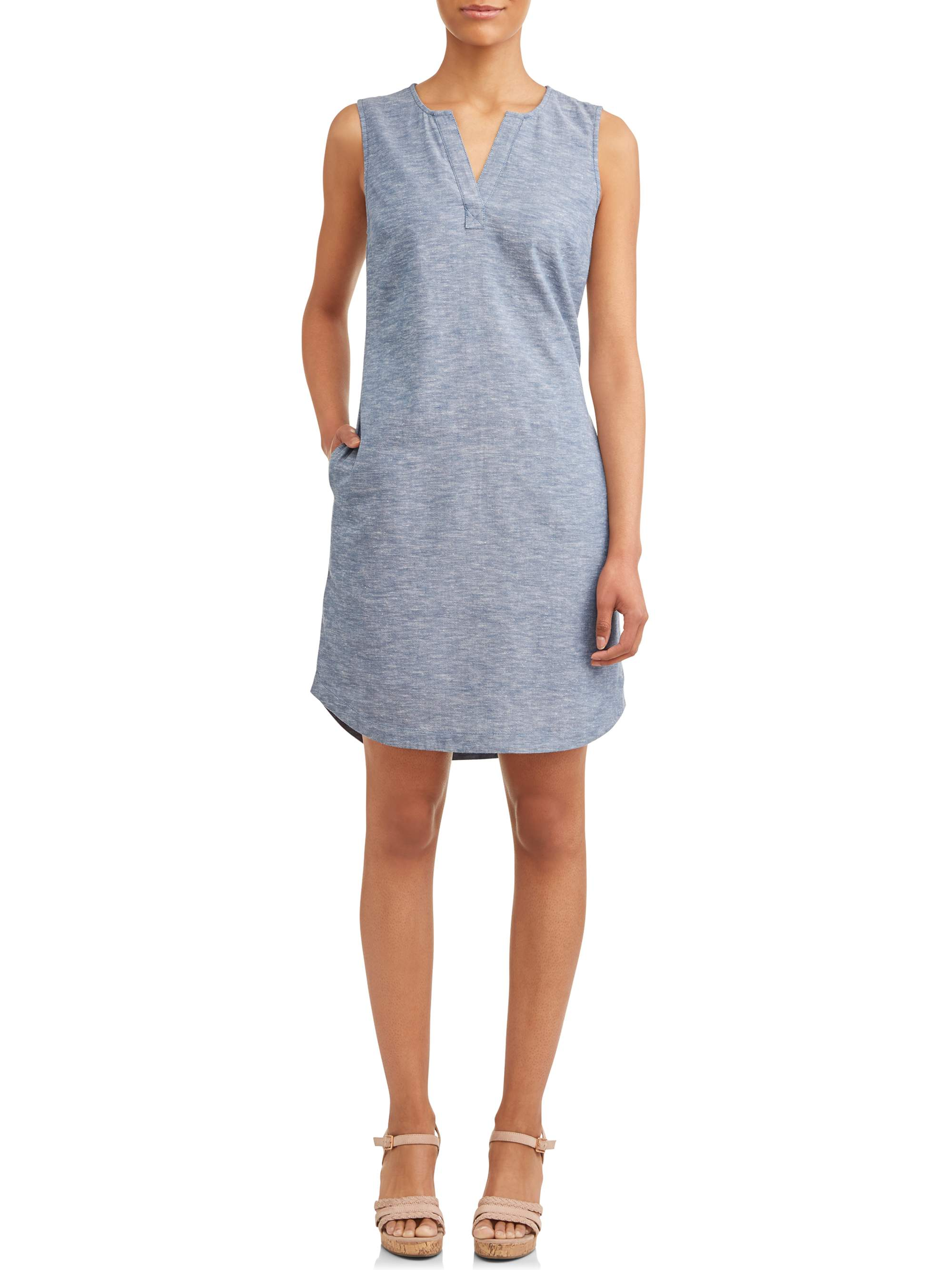 Women's Woven Notch Neck Shift Dress