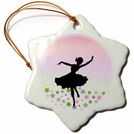 3dRose Spinning ballet dancer dancing amongst the stars - pink graceful balerina silhouette - girly dance, Snowflake Ornament, Porcelain, 3-inch ()