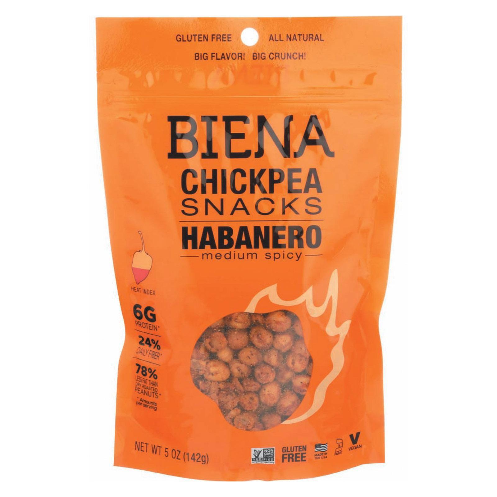 Biena Chickpea Snacks - Habanero - pack of 8 - 5 Oz.