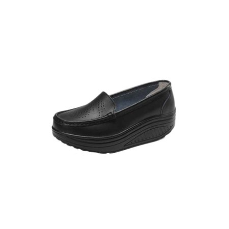 46ee4f1223ef Women Summer Anti-slip Breathable Platform Nurse Shoes Pure Color Leather  Flat Wedge Heel Work Shoes