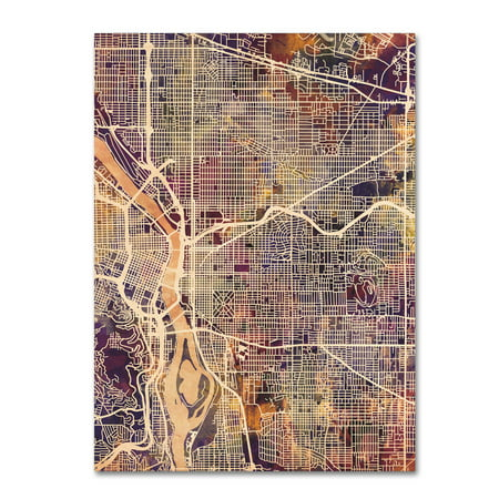 Trademark Fine Art Portland Oregon Street Map Ii Canvas Art By Michael Tompsett