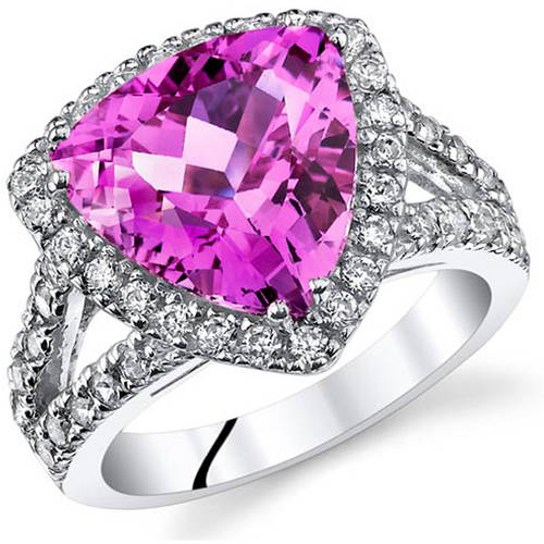 Oravo 5.75 Carat T.G.W. Created Pink Sapphire Rhodium-Plated Sterling Silver Engagement Ring by Oravo