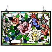 CHLOE Lighting Tiffany-glass featuring Roses & Butterflies Window Panel 27x19
