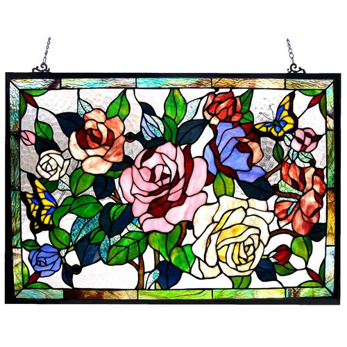 CHLOE Lighting Tiffany-glass featuring Roses & Butterflies Window Panel 27x19