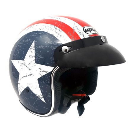 Motorcycle 3/4 Shell - Motorcycle Cruiser 3/4 Shell Open Face Helmet Snap-On Visor – Stars and Stripes American Patriot (Medium)