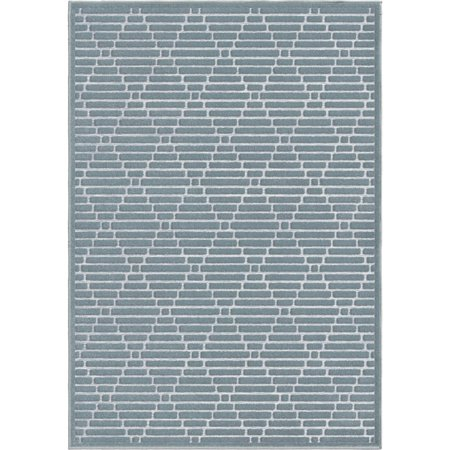 Adderley Braxton Area Rugs - SUNLAND Contemporary Blue Banded Diamonds Rows Diagonal (Sunland Store)