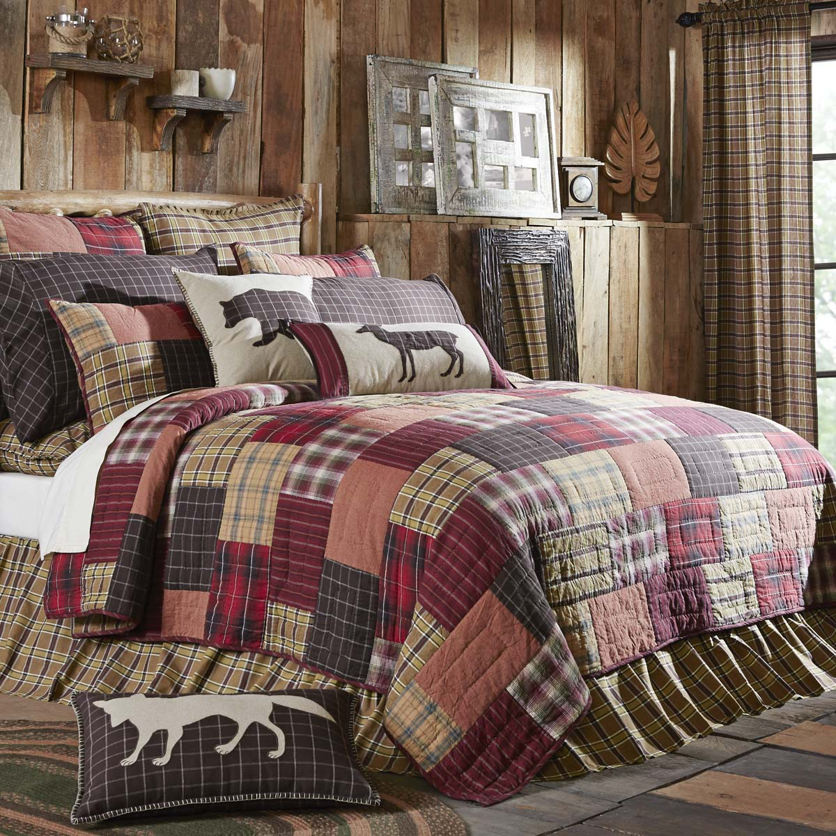 Crimson Red Rustic & Lodge Bedding Wyatt Cotton Pre-Washed Patchwork Chambray Queen Quilt