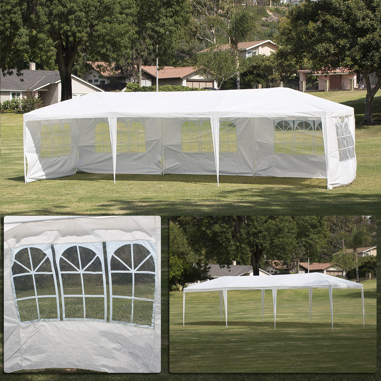 BELLEZE Large Heavy Duty 10' x 30' Foot White Wedding Canopy Event Dancing Gazebo Removable Side Walls Outdoors