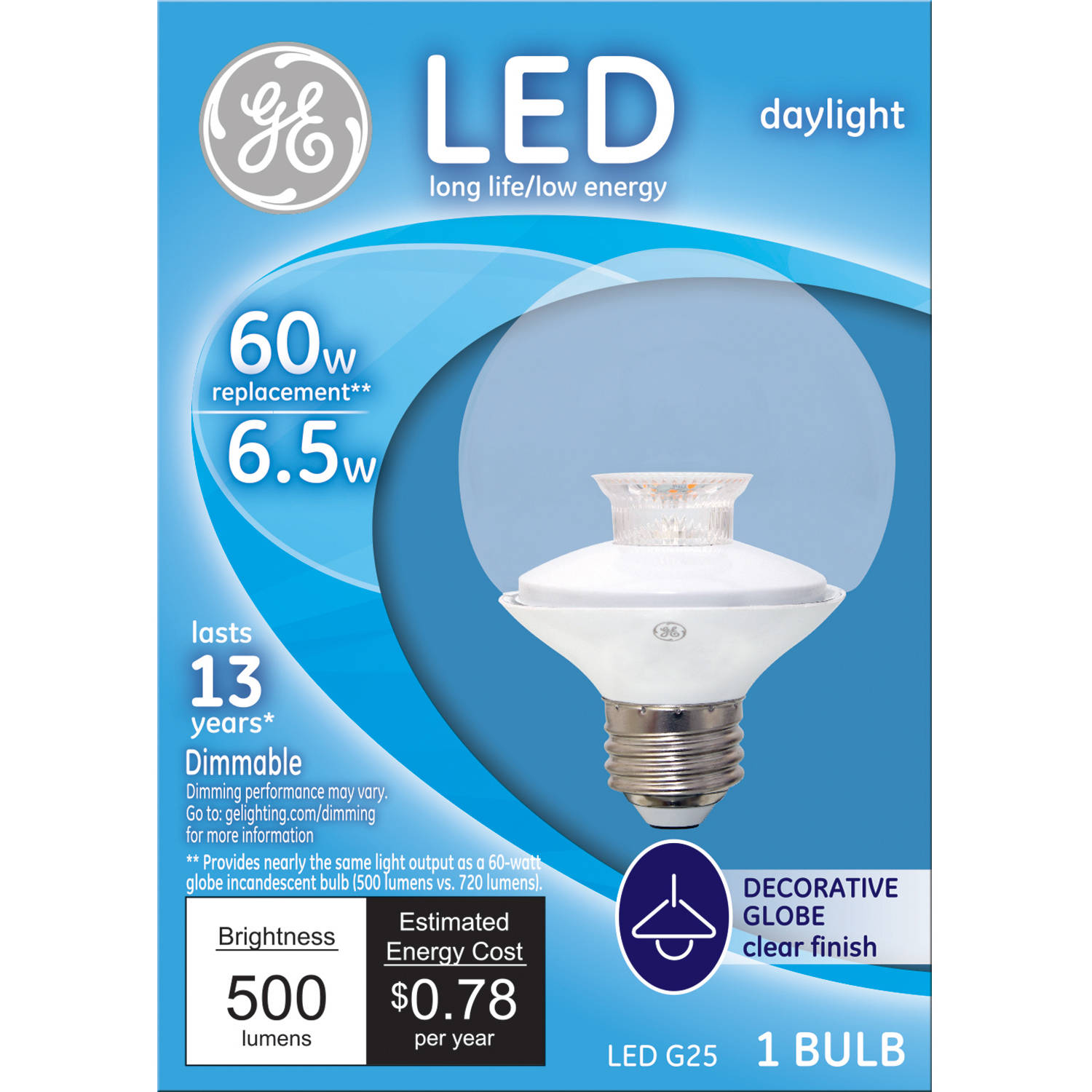 GE 60-Watt Equivalent (Uses 7 Watts) Daylight Clear G25 Decorative Globe LED, 1 Pack