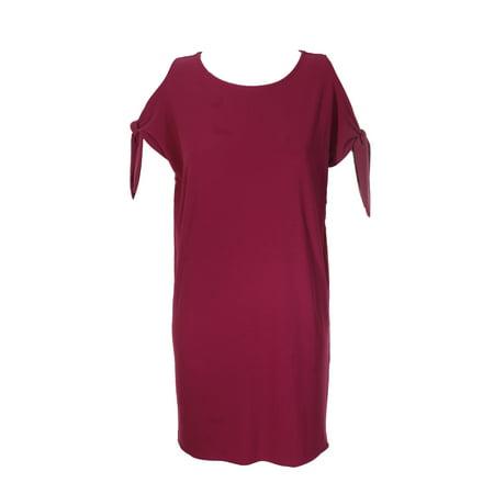 Bar Iii Berry Freeze Short-Sleeve Tie-Detail Shift Dress M