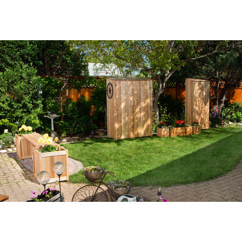 All Things Cedar Western Red Cedar 2 ft.  W x 1.5 ft. D Wooden Vertical Tool Shed