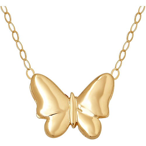 Simply Gold 14kt Yellow Gold Teeny Tiny Butterfly Pendant, 17""