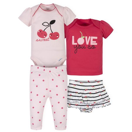 Gerber Baby Girl Onesies Bodysuit, Shirt, Skirted Panty, and Pant Set, 4pc Shirts And Skirts