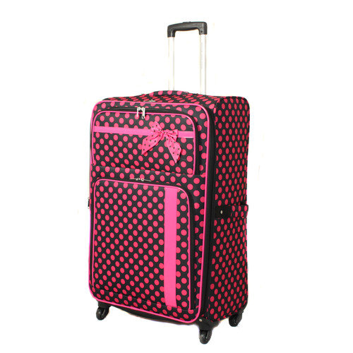 All-Seasons 86LW06-25-BK-PK 25 inch Polka Dot Delight Expandable Lightweight Spinner Upright Luggage, Black & Pink