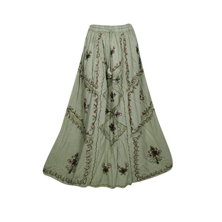 4cfa54a1fd12 Mogul Interior - Mogul Womens Boho Chic Gypsy A-Line Skirts Floral  Embroidered Free and Easy Summer Style Ethnic Long Skirts - Walmart.com