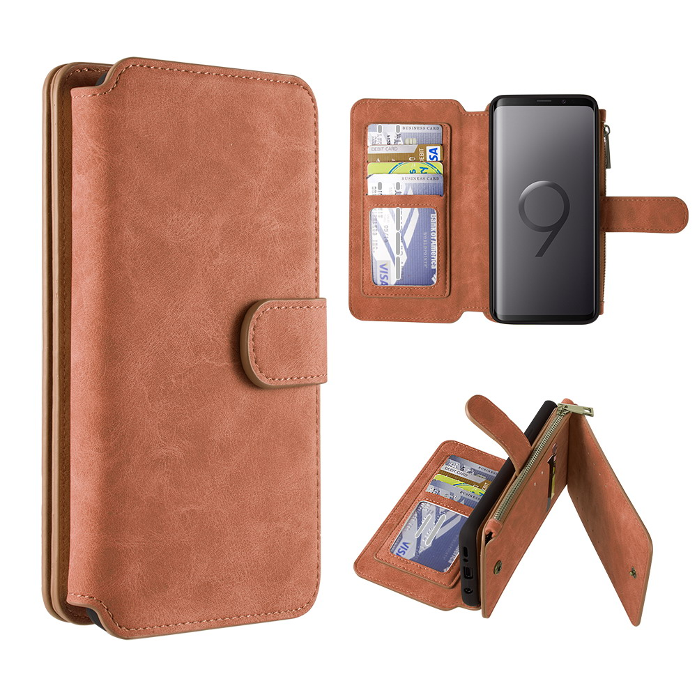 Clutch Series Galaxy S9 Plus Case, PU Leather Zipper Pocket Flip Wallet [14 Card Slots] with Detachable Magnetic Slim Cover Case - (Brown), Atom Cloth for Samsung Galaxy S9+ Plus