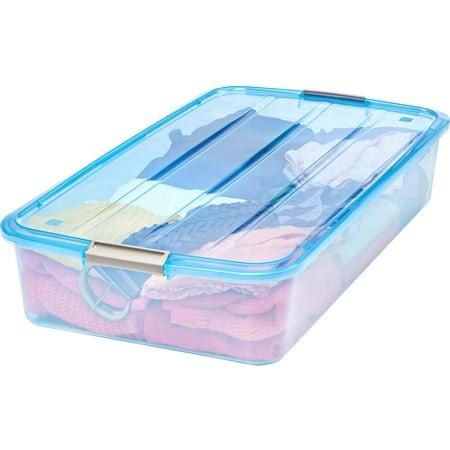 IRIS USA, 50 Quart Underbed Buckle Up Storage Box, Blue ()