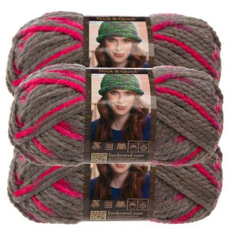 Lion Brand Yarn (3 Pack) Wool Ease Thick & Quick Super Chunky Yarn For Knitting Crocheting Soft Yarn Bulky - Super Buddy