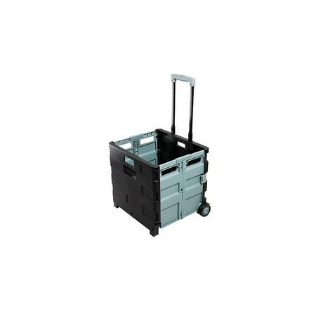 Staples 30 Qt. Black Durable Expanding Folding Crate on Wheels (31272) 440122