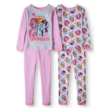 My Little Pony 4 Piece Pajama Sleep Set (Big Girl & Little Girl)
