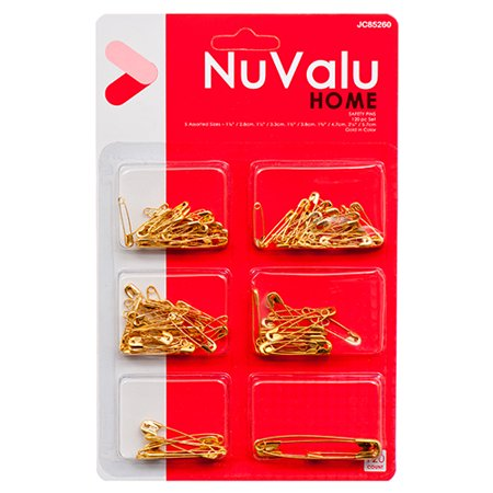 New 305238 Nuvalu Safety Pins Mix 120Ct Gold Color W