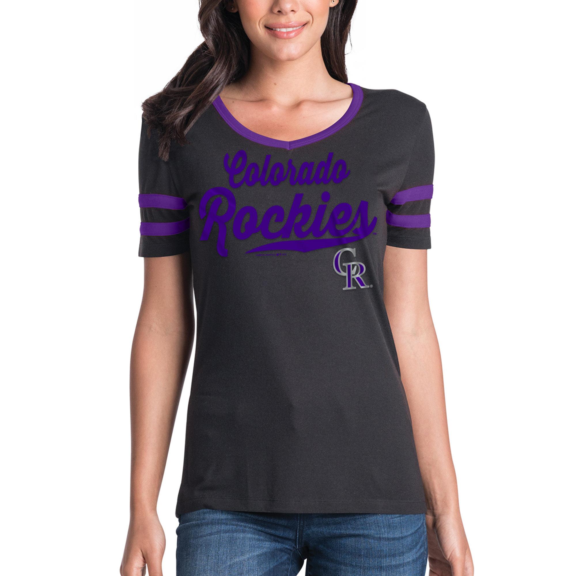 Women's New Era Black Colorado Rockies Jersey V-Neck T-Shirt