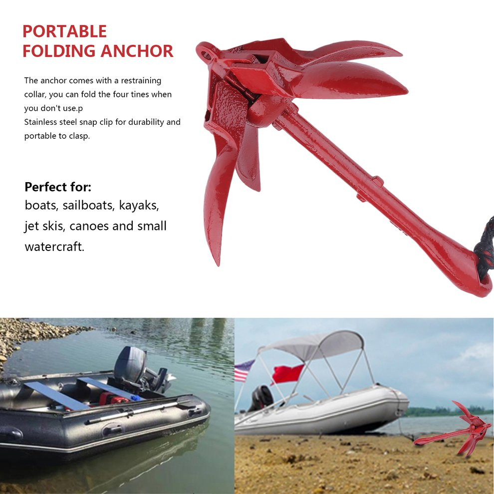 Folding Anchor Buoy Kit Anchor Rigging System Set with Float Carrying Bag Rope by