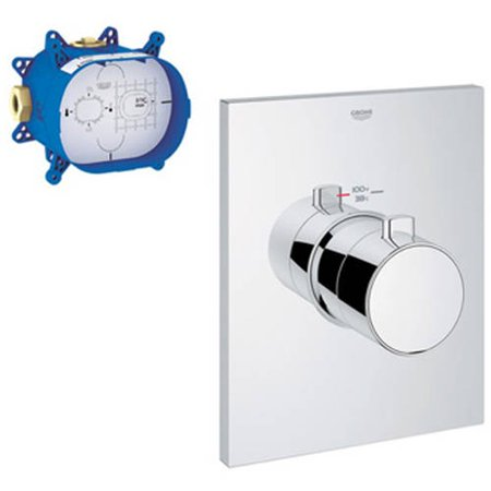 Custom Shower Kit - Grohe K27620-35026-000 Grohtherm F Custom Shower Thermostatic with Control Module Trim Kit, Chrome