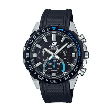 Casio Men's Edifice Solar Powered Chronograph Watch, Black Resin Strap