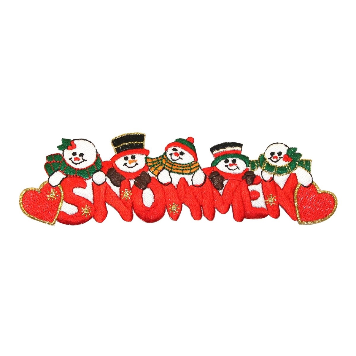 ID 8008 Snowmen Decoration Patch Christmas Winter Embroidered Iron On Applique