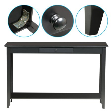 Yaheetech 2-Tier Wood Hall Console Table with Drawer and Bottom Shelf 55Lb Capacity Black