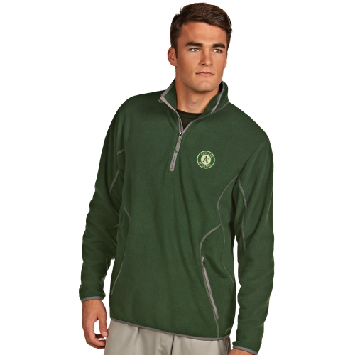 Antigua Oakland Athletics Ice Polar Fleece Quarter Zip Jacket - Green