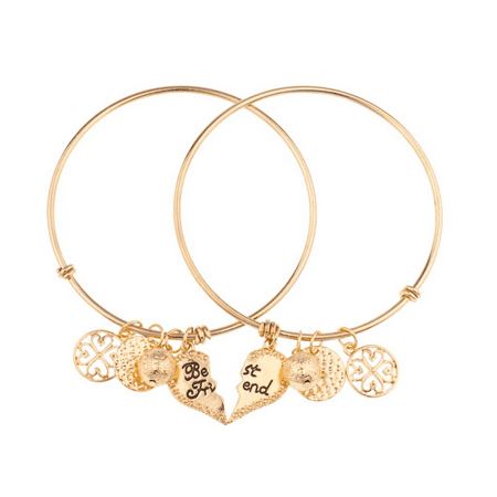Lux Accessories Best Friends Forever BFF Charm Bracelet Set (2