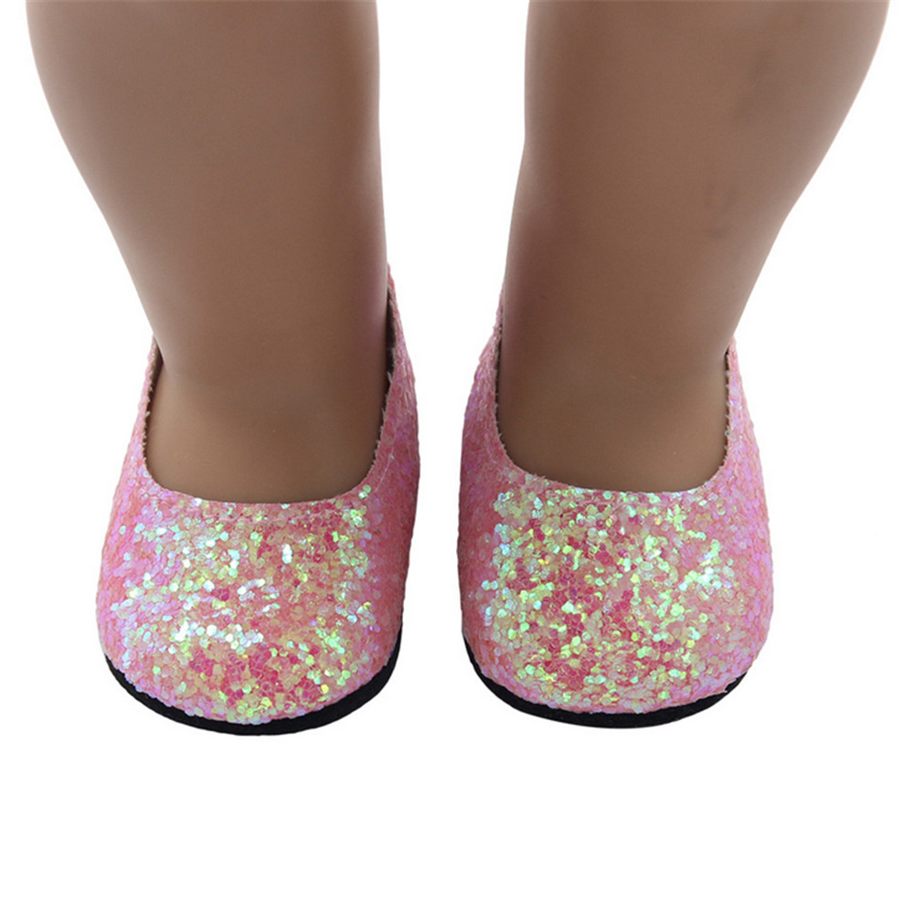 DZT1968Glitter Doll Shoes Dress Shoe For 18 Inch Our Generation American Girl Doll