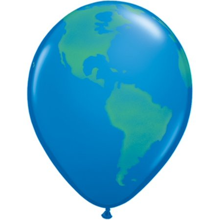 Earth Globe 11 inch Printed Latex Balloons (6