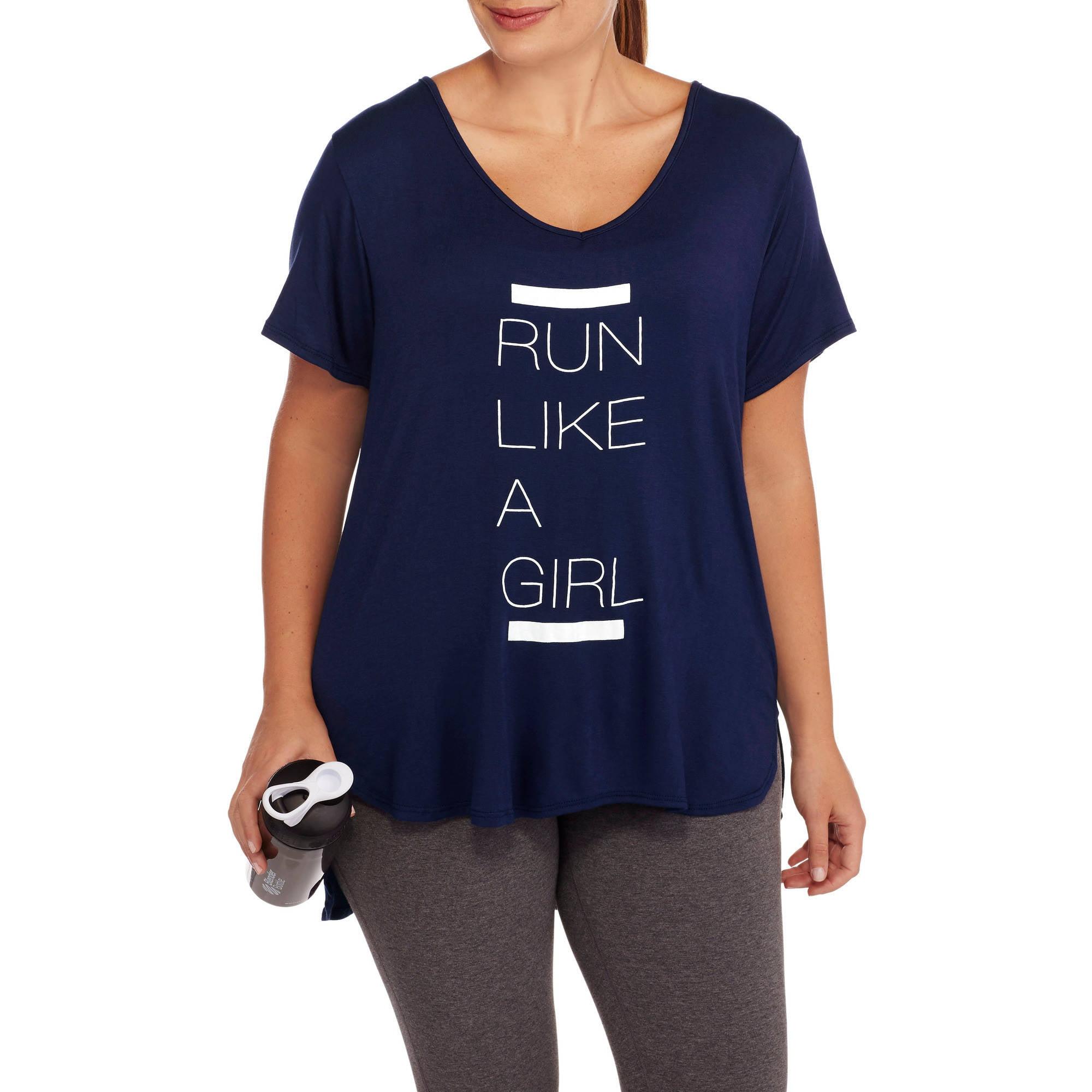 Fitspiration Women's Plus 'Run Like a Girl' Short Sleeve V-Neck Active Graphic T-Shirt