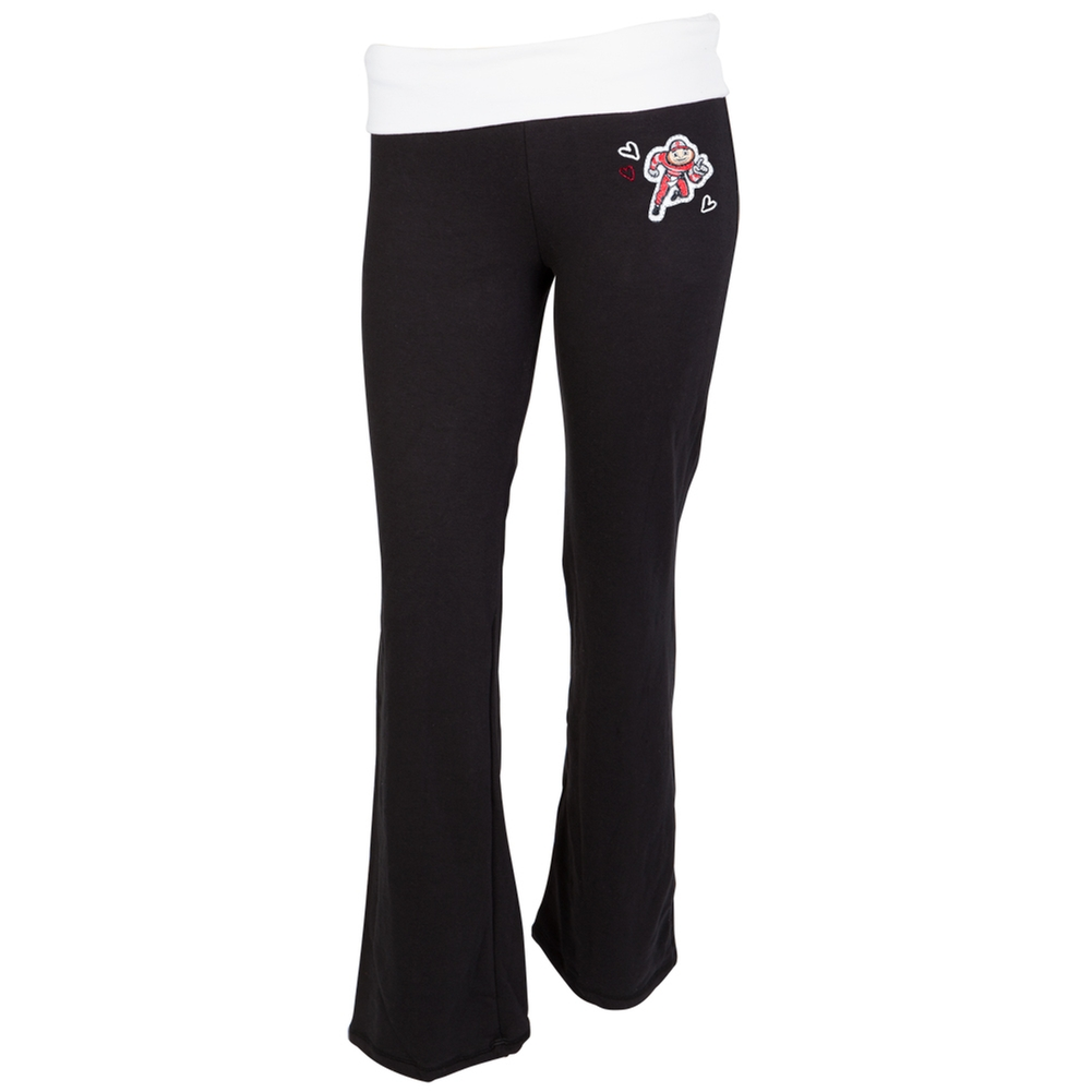 Ohio State Buckeyes Glitter Logo Cheer Girls Youth Yoga Pants Youth 14 by